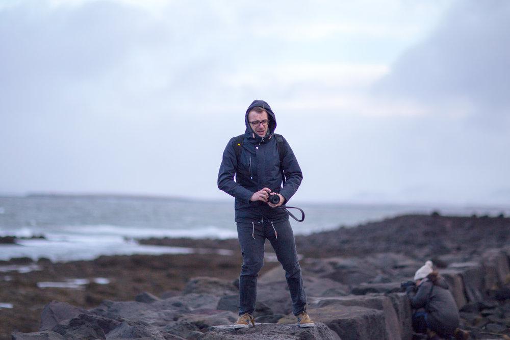 British journalist Martin Guttridge-Hewitt braving the elements by the Grótta lighthouse