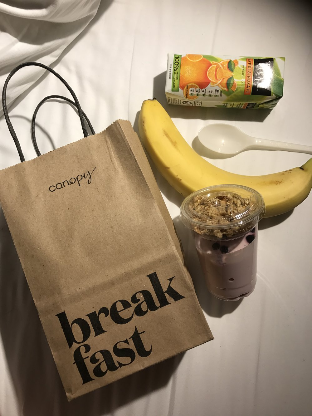At Canopy, they leave you a great little breakfast bag on a hook by your door each morning. Love it.