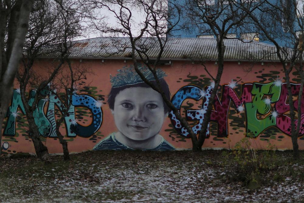 """""""Mind Games"""" street art near Hallgrímskirkja"""