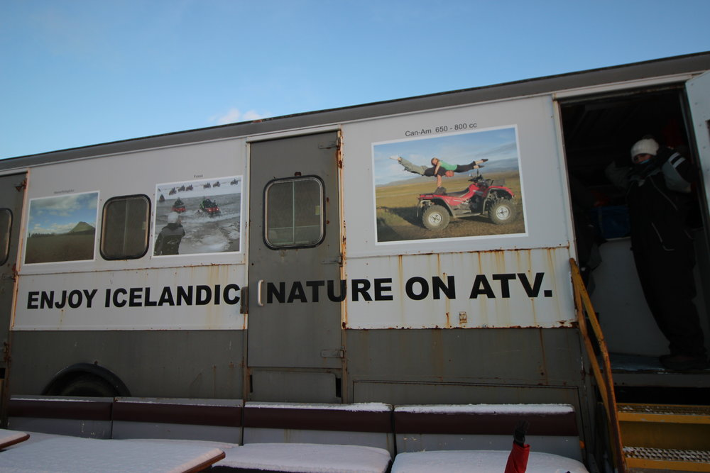 At ATV – Óbyggðaferðir, this trailer was filled with snowsuits, boots, gloves, and helmets