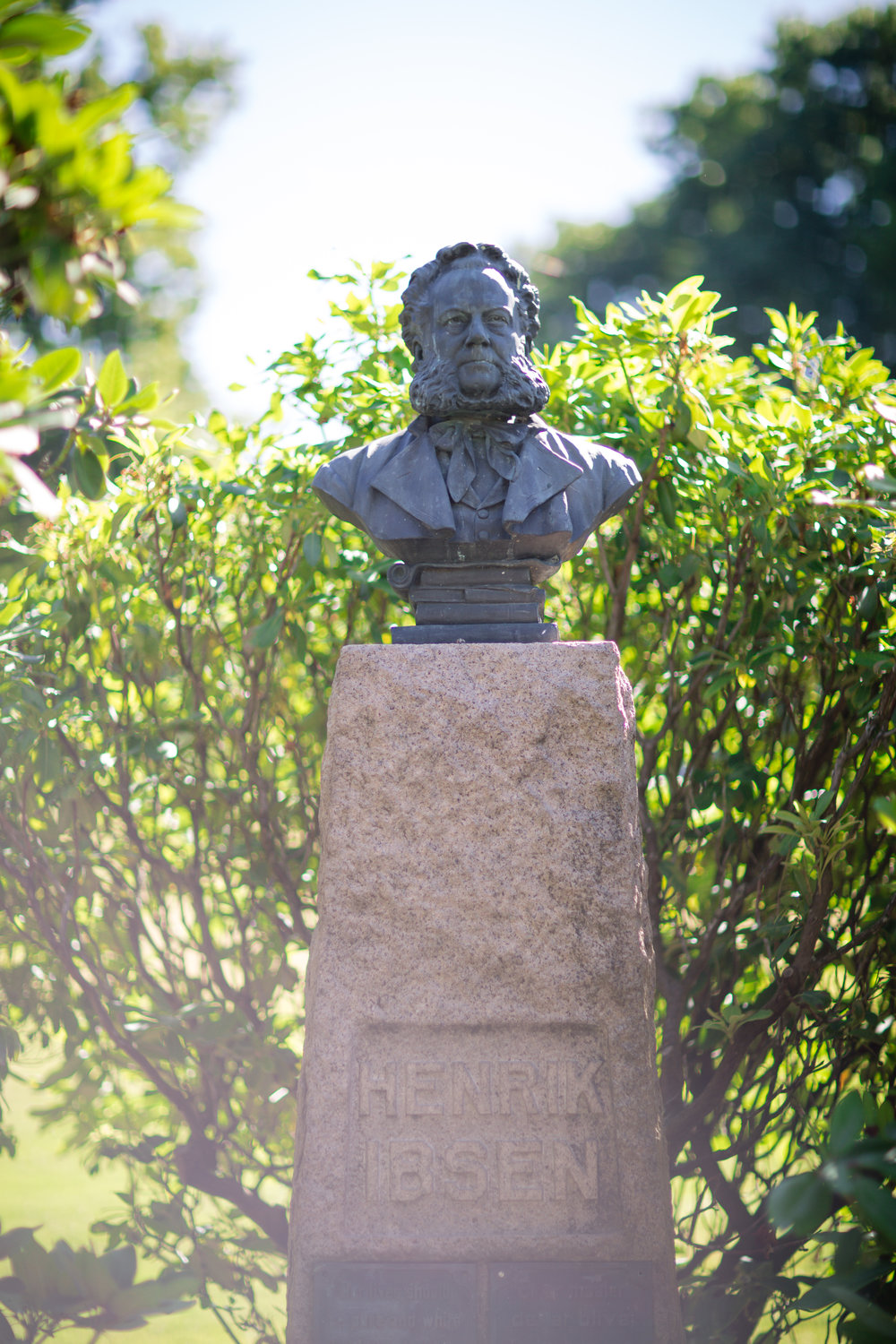 Ibsen bust in the park below the conservatory