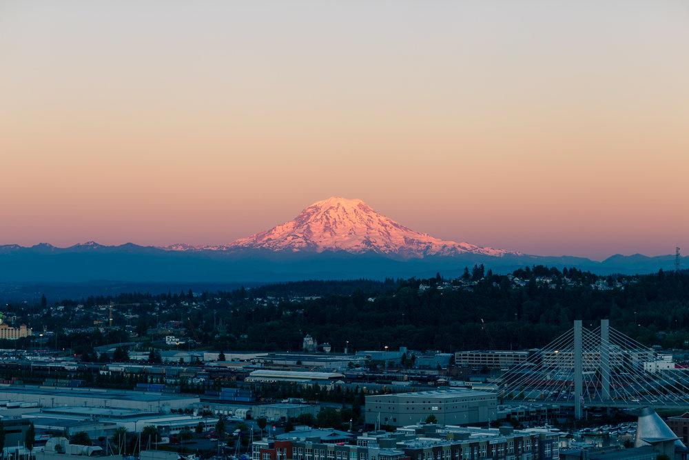 Tahoma-Rainier in twilight, seen from my hotel window
