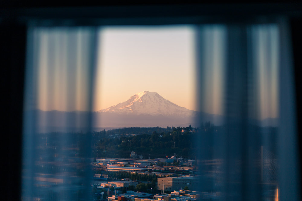 Tahoma-Rainier just before dusk, seen from my hotel window
