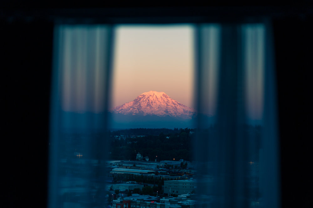 Tahoma-Rainier in twilight, seen from my hotel window