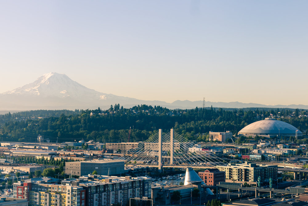 My room's view, with Tahoma-Rainier on the left and the Tacoma Dome on the front right