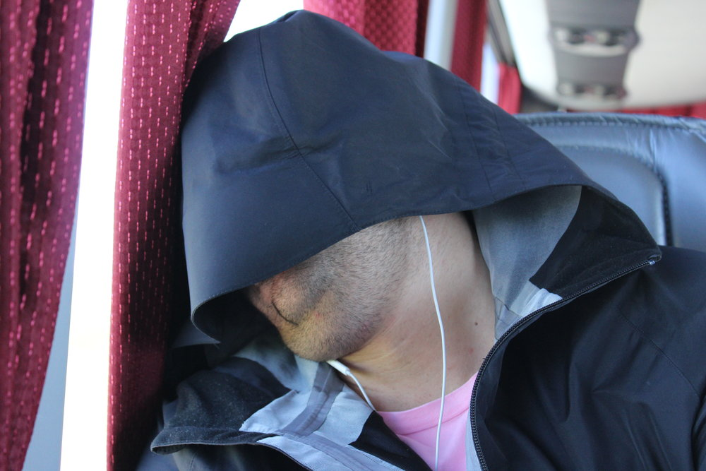 Fedja sleeps on the bus