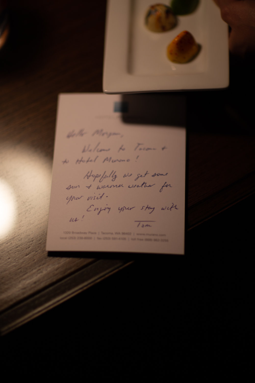A nice note in our Hotel Murano room
