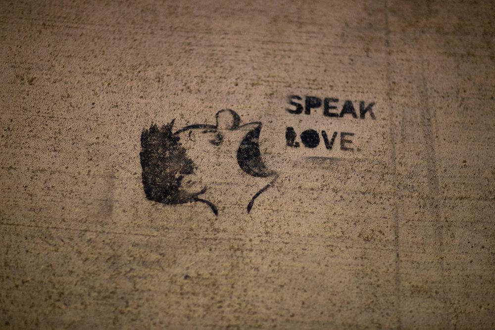 """Speak Love"" street art, downtown Tacoma"