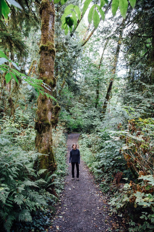 Elaine Schimek among the giant trees