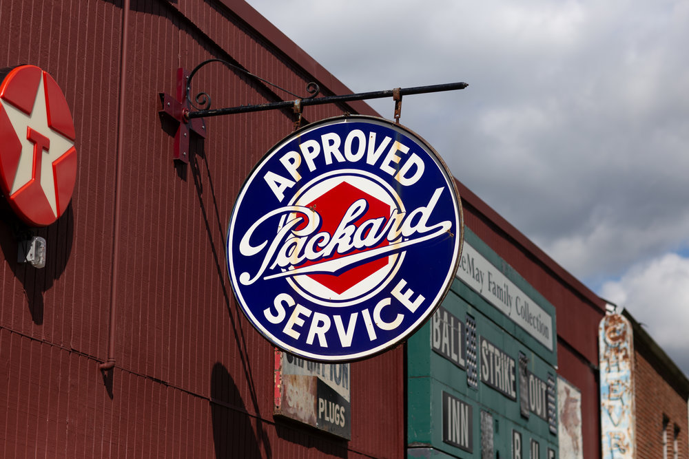"Vintage ""Approved Packard Service"" sign"