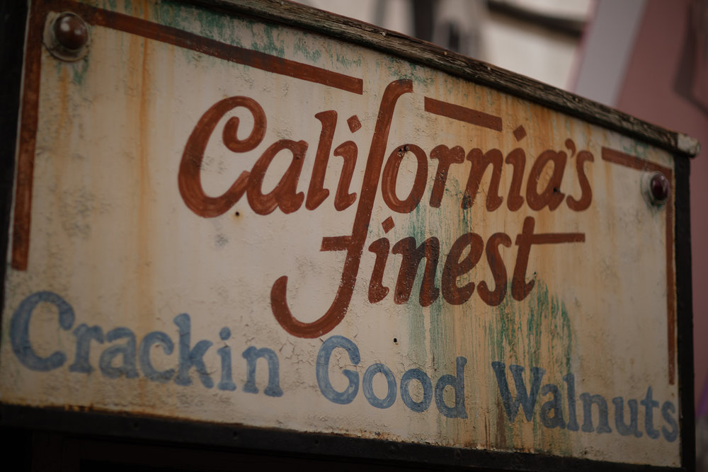 Vintage sign for California walnuts