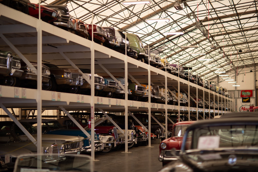 Racks and rows of cars