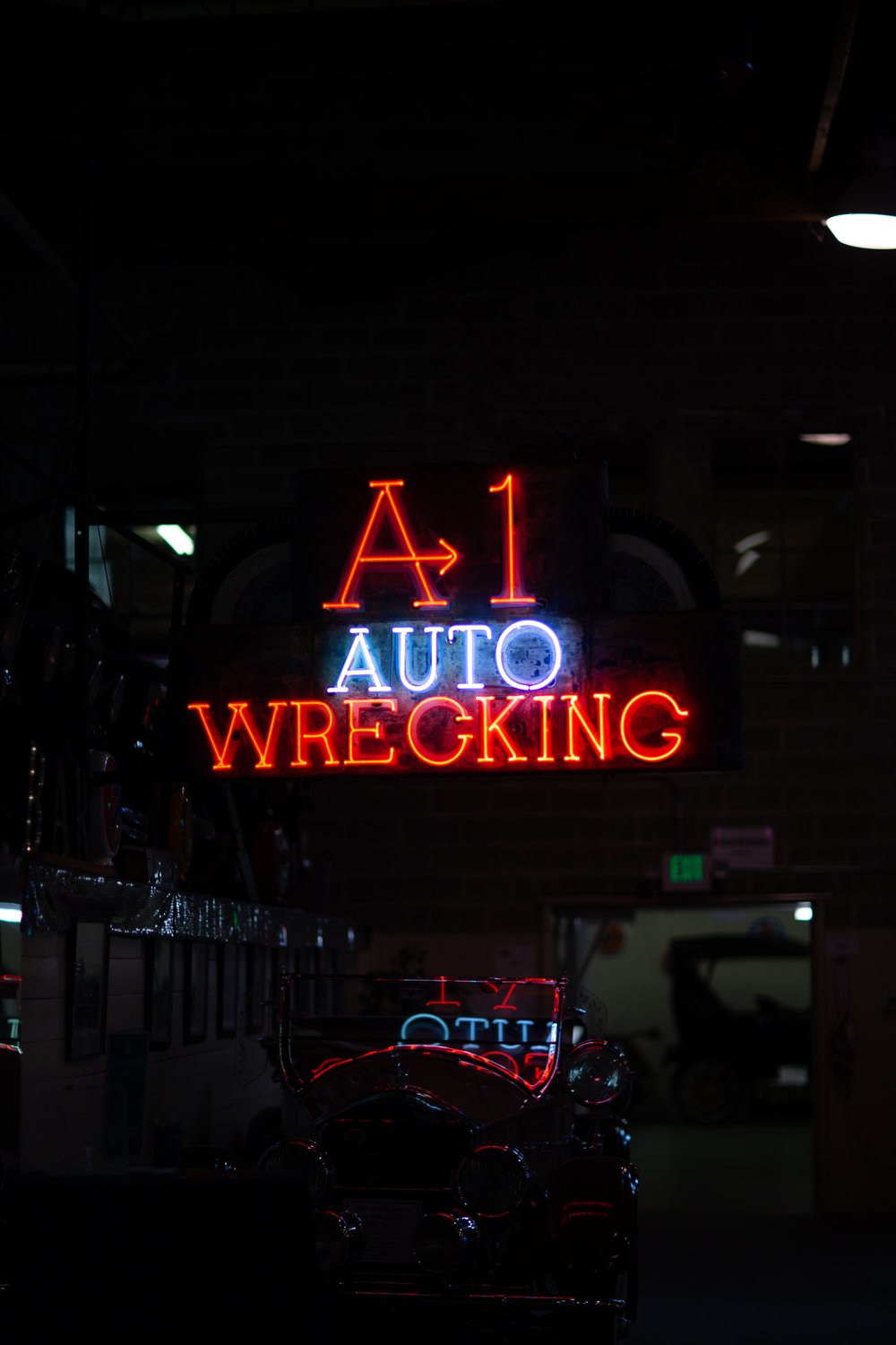 A-1 Auto Wrecking neon sign