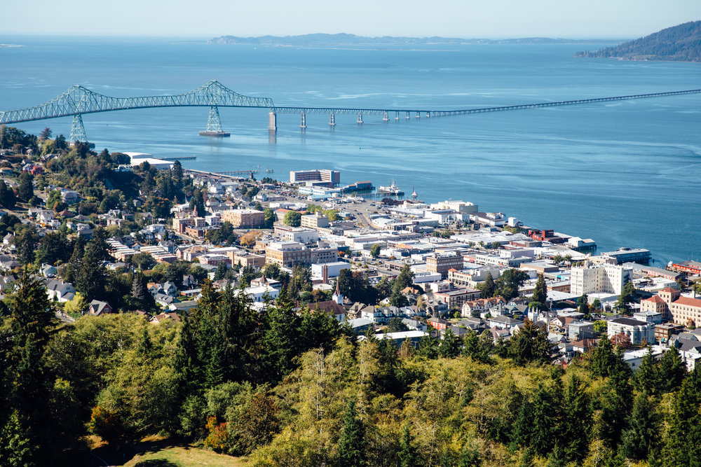 Astoria–Megler Bridge seen from the road to Astoria Column