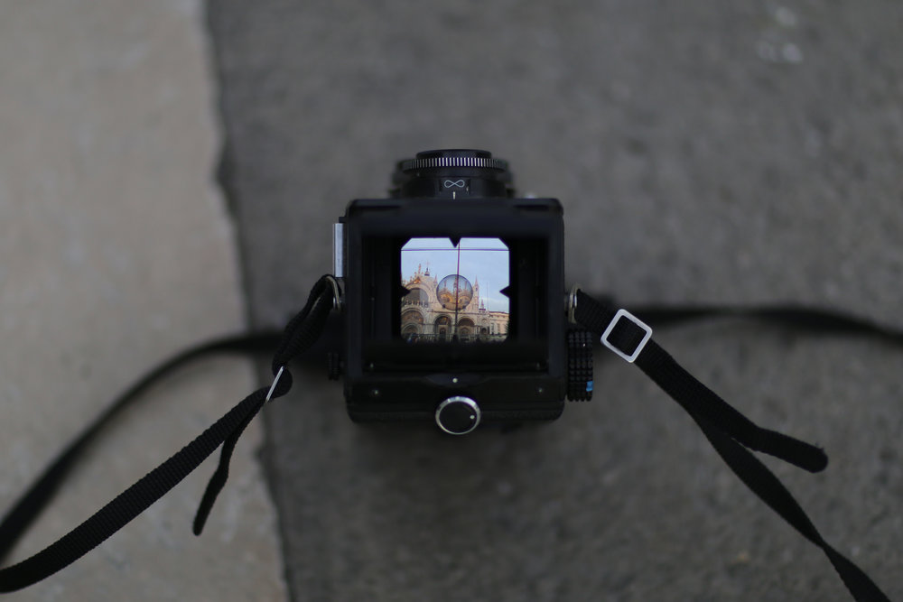 Photographing the basilica with one of my film cameras