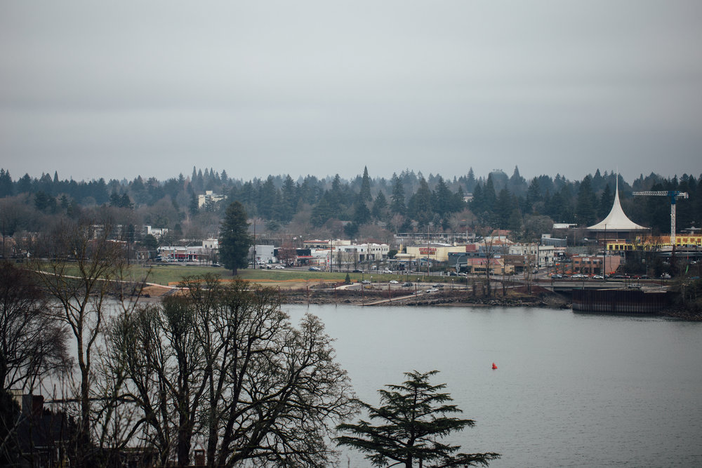Downtown Milwaukie across the Willamette