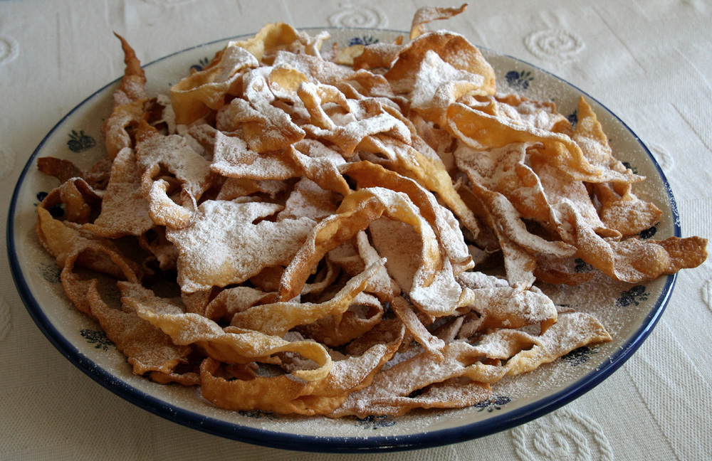 A plate of traditional  chruściki