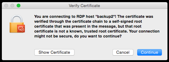 "Self-signed ""Verify Certificate"" warning message"