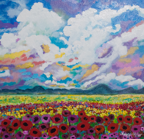 You can find this painting here   http://www.maggiegmiller.com/landscapes-1/look-at-the-heavens-cloud-scape