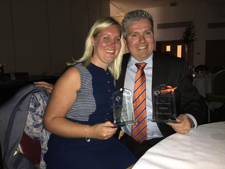 David Bell & Joanna Bell winning East of England Business Awards