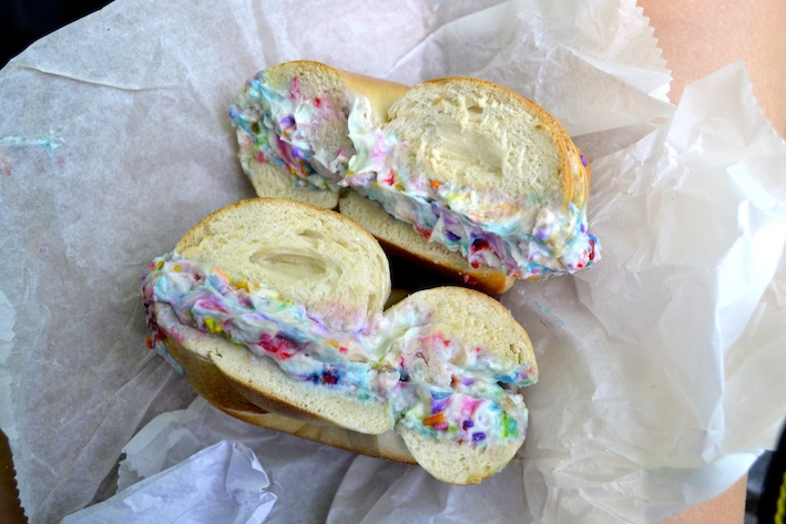 One Girl Two Bagels Discovering Birthday Cake Cream Cheese At