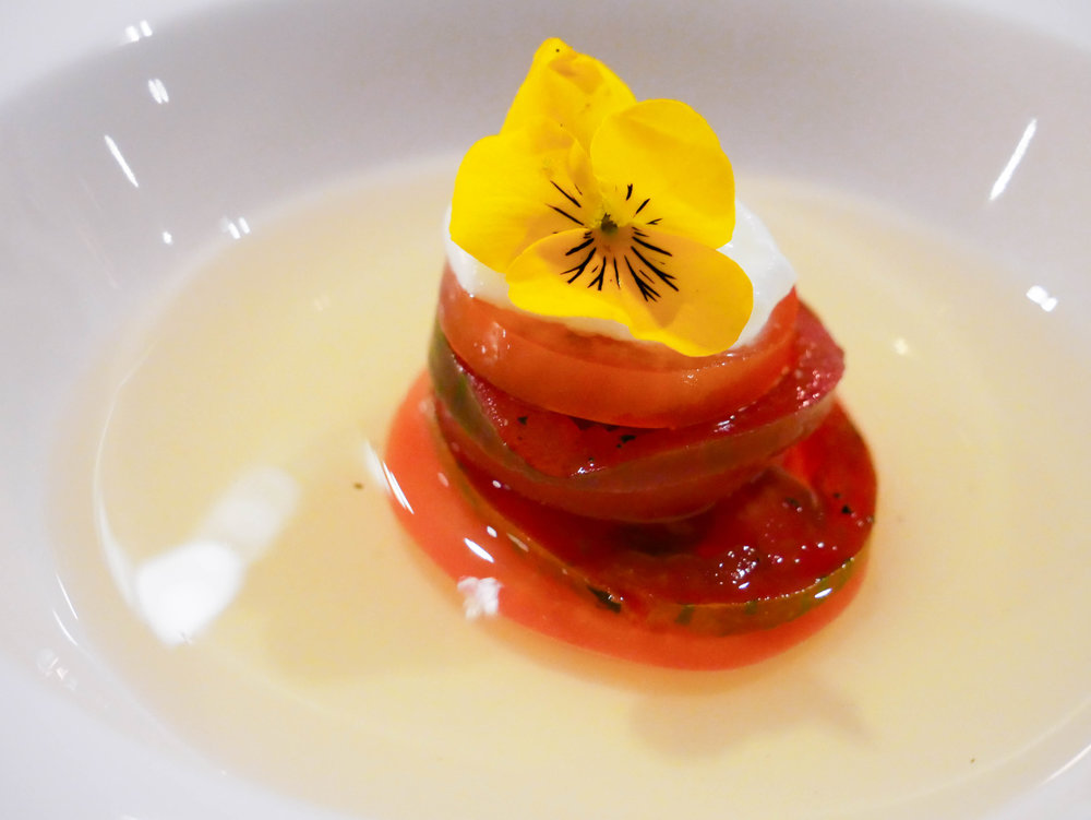 Tomato & Goat Cheese in Chive Oil