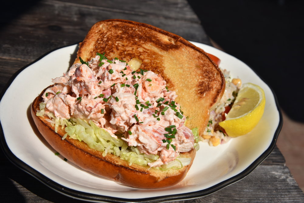 """""""Muskeget""""  Traditional New England-style lobster roll on buttered, toasted brioche roll with lettuce and tomato"""