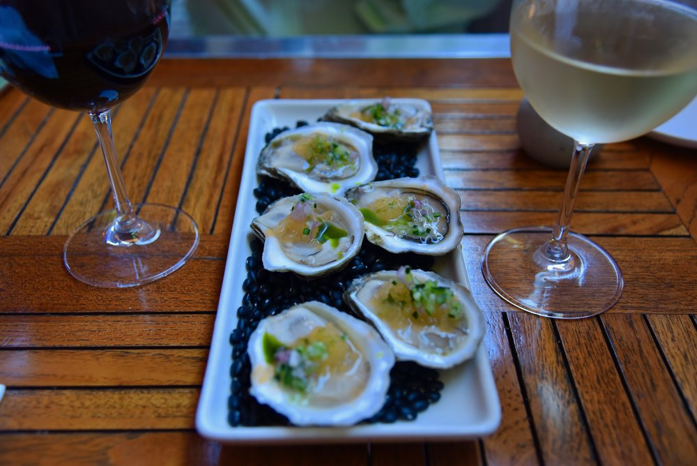 """""""Chilled Nantucket Grey Lady Oysters""""   melon-champagne """"iced"""" mignonette, cucumber and basil."""