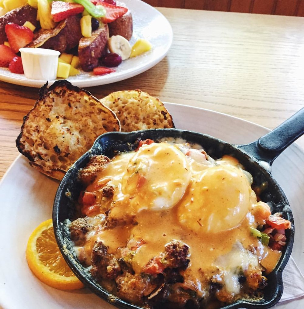"""""""Tex Mex Skillet"""" stacked with home fries, pico de Gallo, chorizo and cheesy eggs     Courtesy of Fog Island Cafe"""