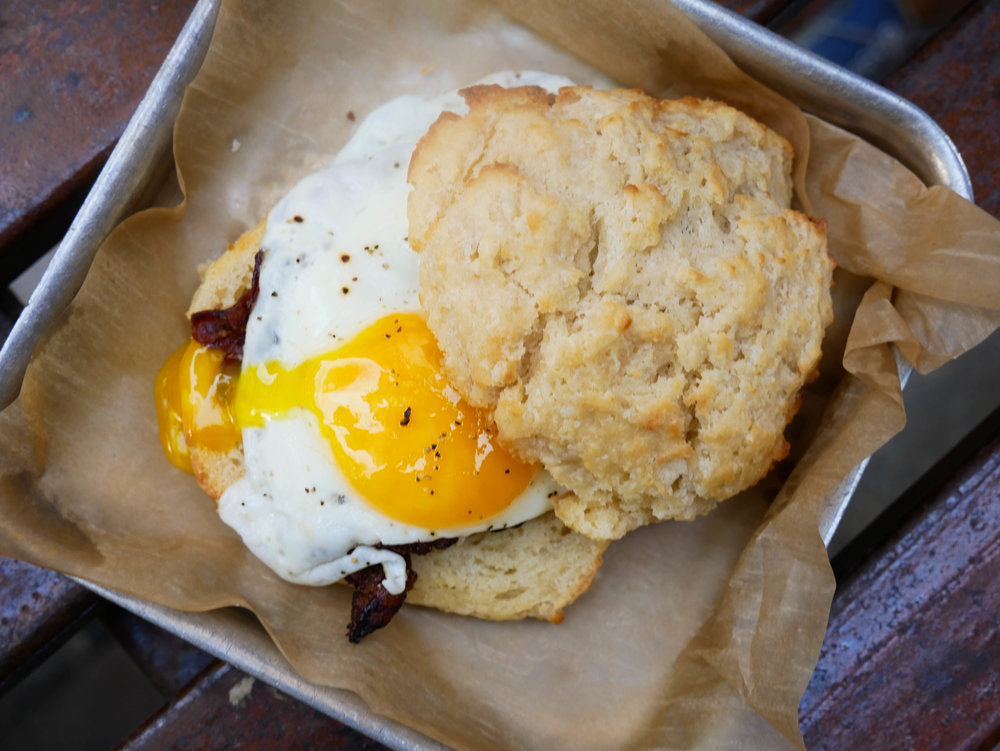 Miso Praline Bacon & Sunny Side Up Biscuit
