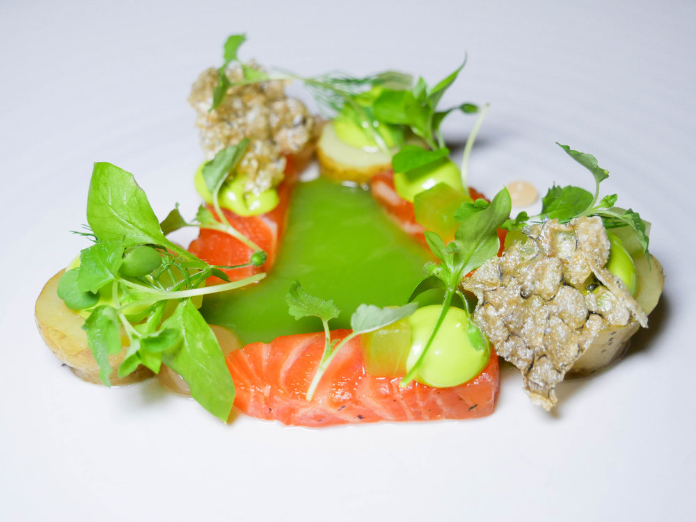 Loch Tay trout with pink fir potato, oyster and cucumber