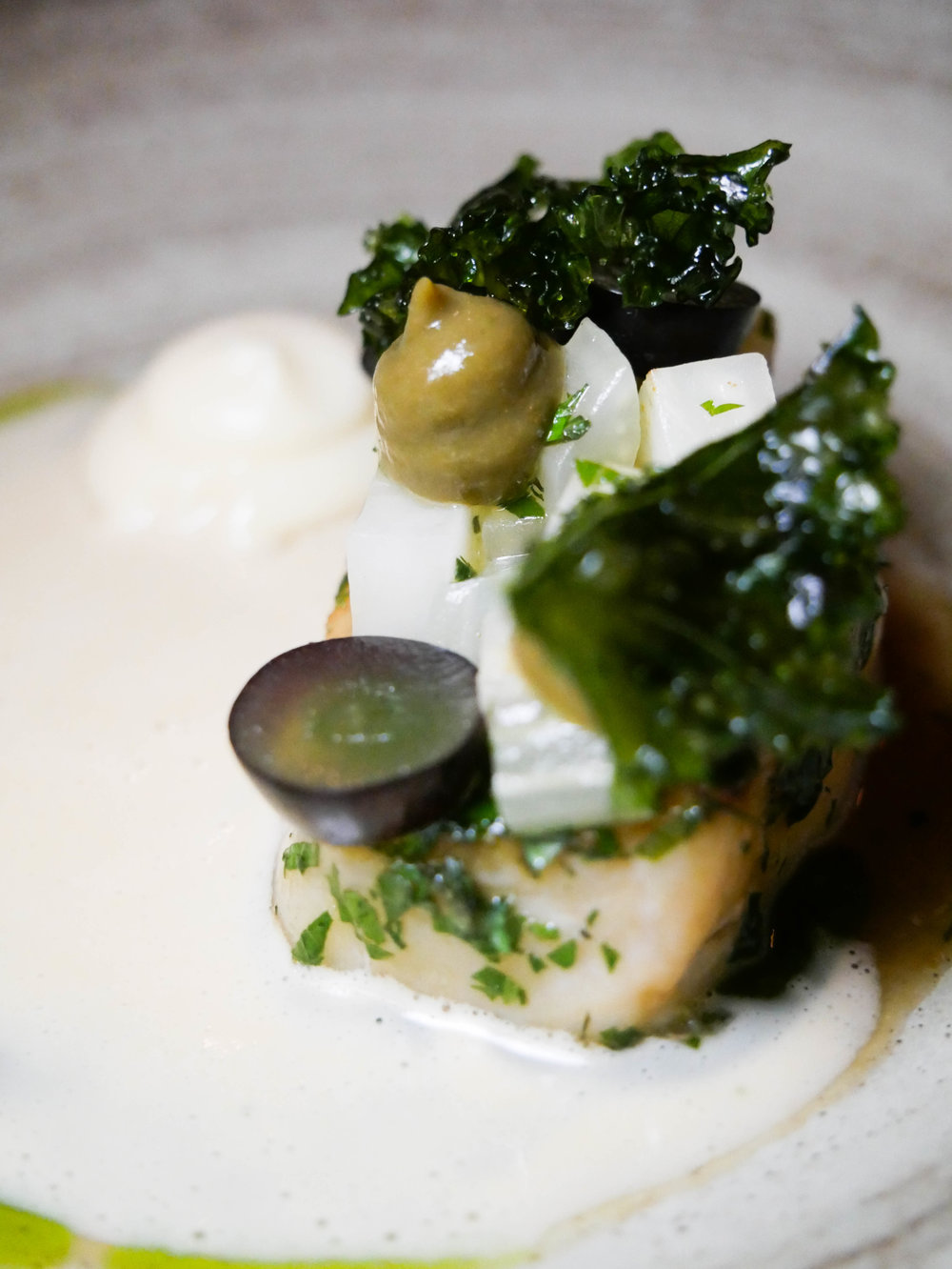 Cod with celeriac, caper and raisin