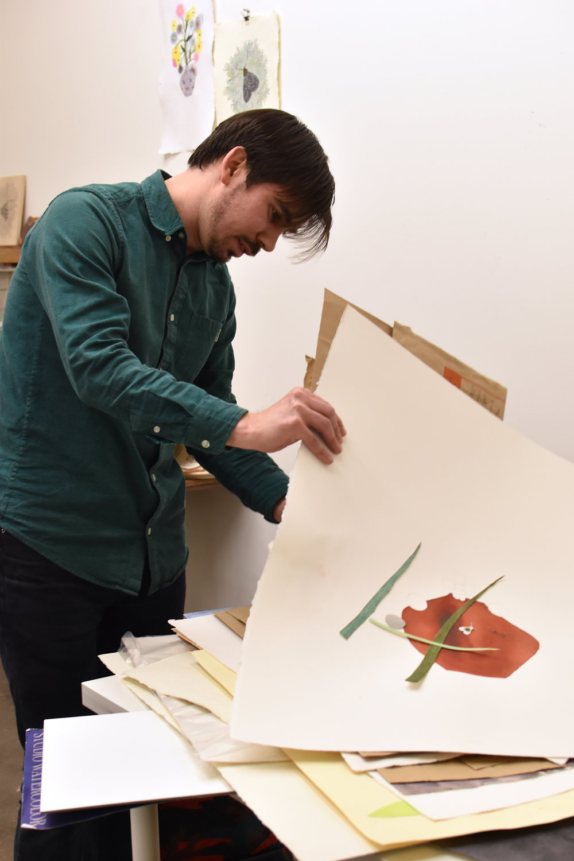 Justin L'Amie in his studio