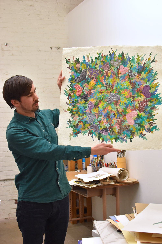 L'Amie in his studio