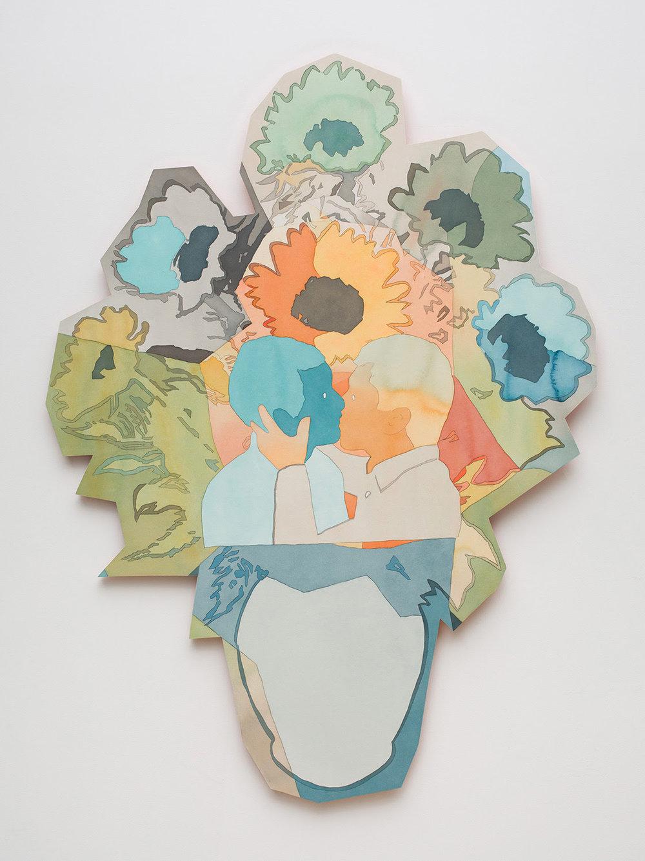 Dan Gluibizzi, Kiss , 2018, acrylic and paper on panel