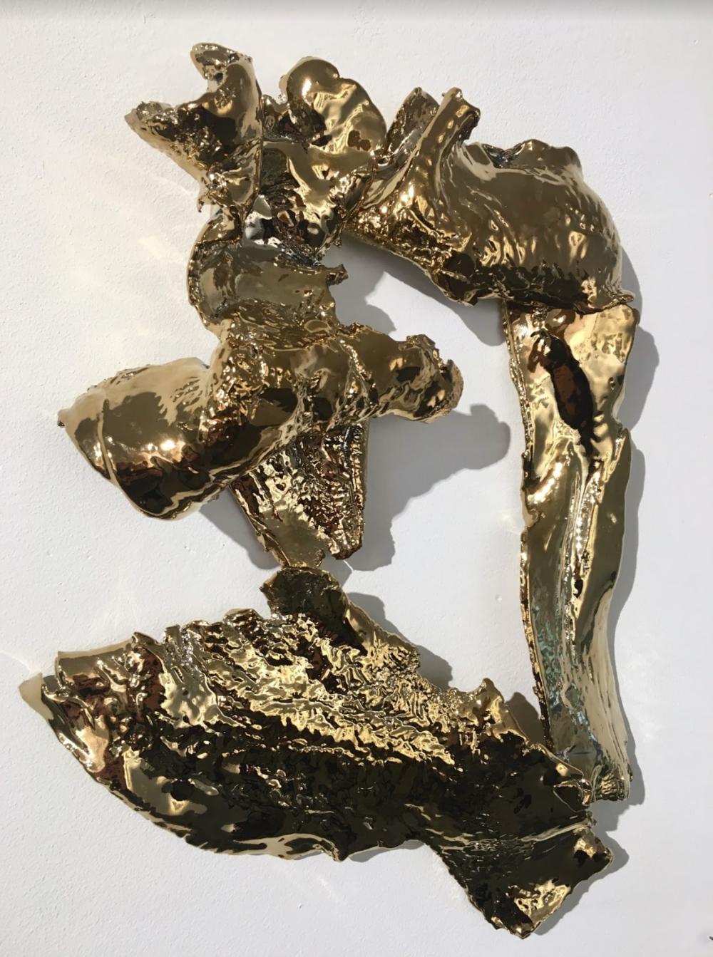 """Reverie , 2017. Gold electroformed porcelain. (12""""L x 4"""" x 12""""H)"""