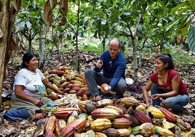 Director Tim Shephard got an intensive class in harvesting cacao from Florencia and her granddaughter. They implied that if we were to talk with them we'd be working with them. Despite some early skepticism over his machete technique, Tim managed to leave the farm with all of his digits intact.