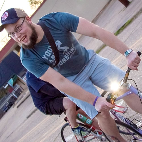 "Stephen ""Speederson"" Pederson, Organizer - Bike Shreveport, Writer - Heliopolis, Engineering Tech - Burk-Kleinpeter Visit website Hometown: Otis, LA Current City: Shreveport, LA Why do you love Louisiana? How are you helping to make a difference? Louisiana feels like home. The people and the food are amazing, and they smell the same. I feel a greater chance to have an impact here than anywhere else, so why not? Louisiana has some of the highest rates of pedestrian and cycling accidents or crashes in the US. - sounds like a good reason to stay and improve the situation. Find where you can make a difference, and do that."