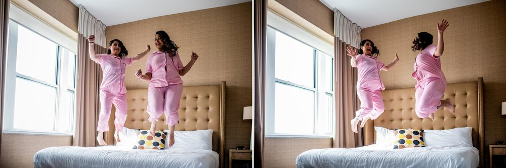 Bride Jumping on Bed | Pink Pajamas | Shooting for Kit and Bug Photography | Asbury Park Photographer | Spring Lake Photographer | Wedding Photographer | Jersey Shore Photographer