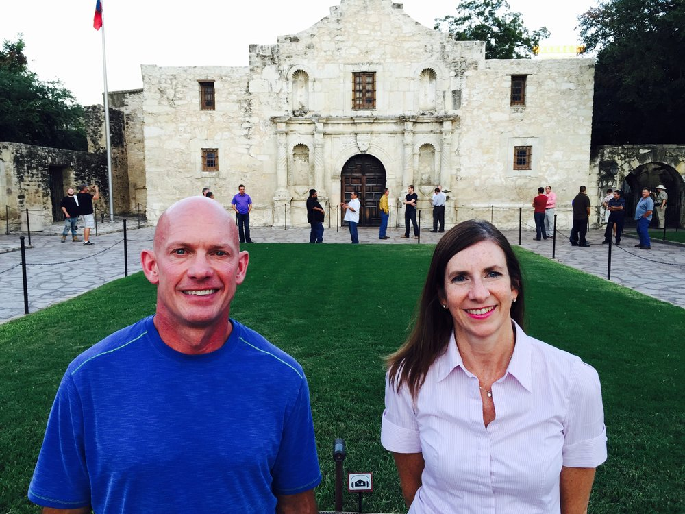 Brent Bauer and Yvonne Sabatini pose for a picture outside the historic Alamo in San Antonio Texas, where they were presenting at the Henry Gonzalez Convention Center.