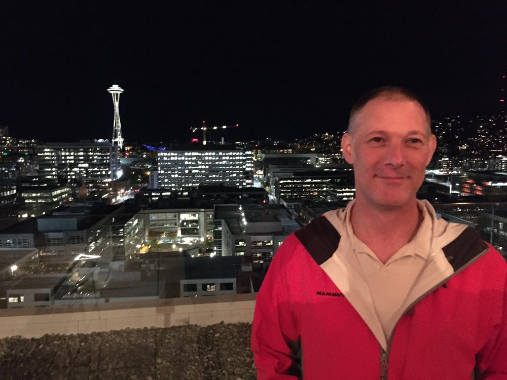 Chip Martin enjoying the view at the MBar in Seattle, on Fairview.