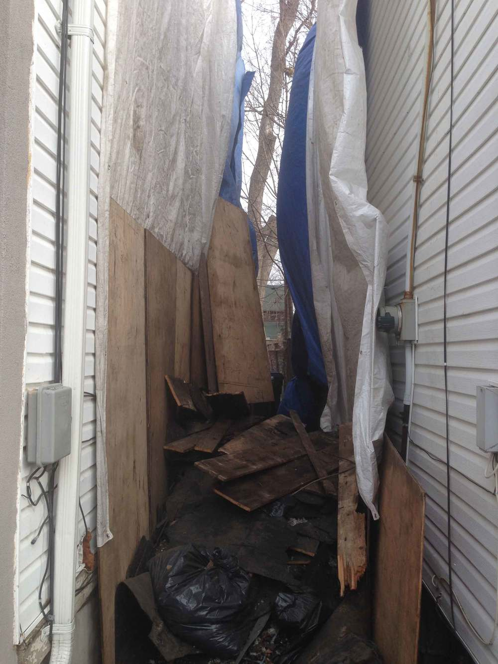 Protection of houses from falling debris.