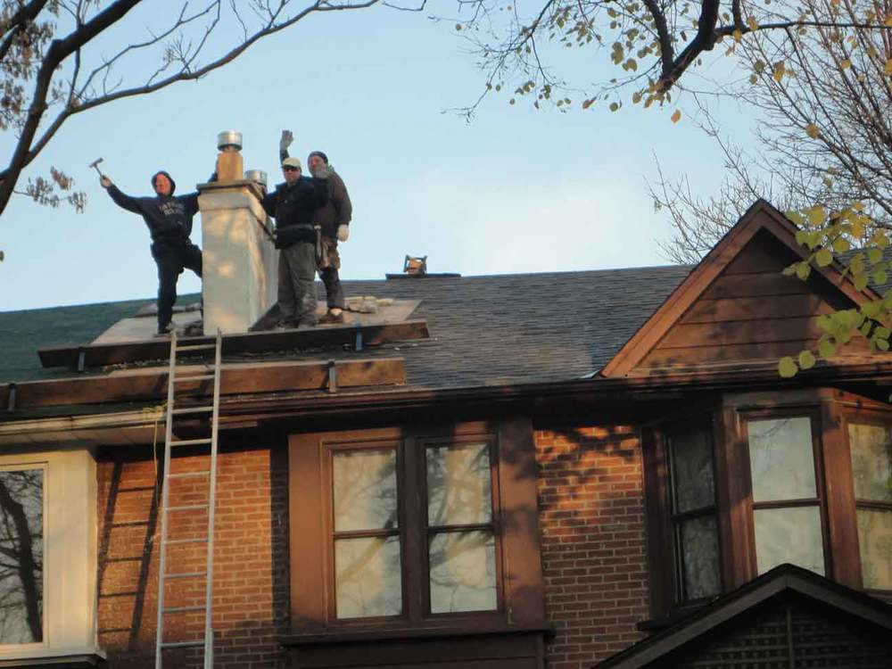 Set up roof protection due to chimney tear down.