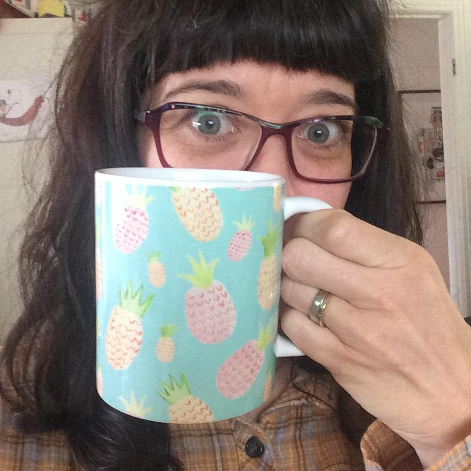 Pineapple on beautifully finished ceramic mug. Yum!