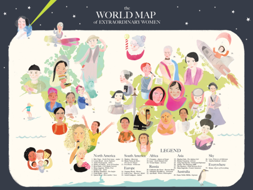 Moon and sparrow illustration the world map of extraordinary women 16 x 20 gumiabroncs Image collections