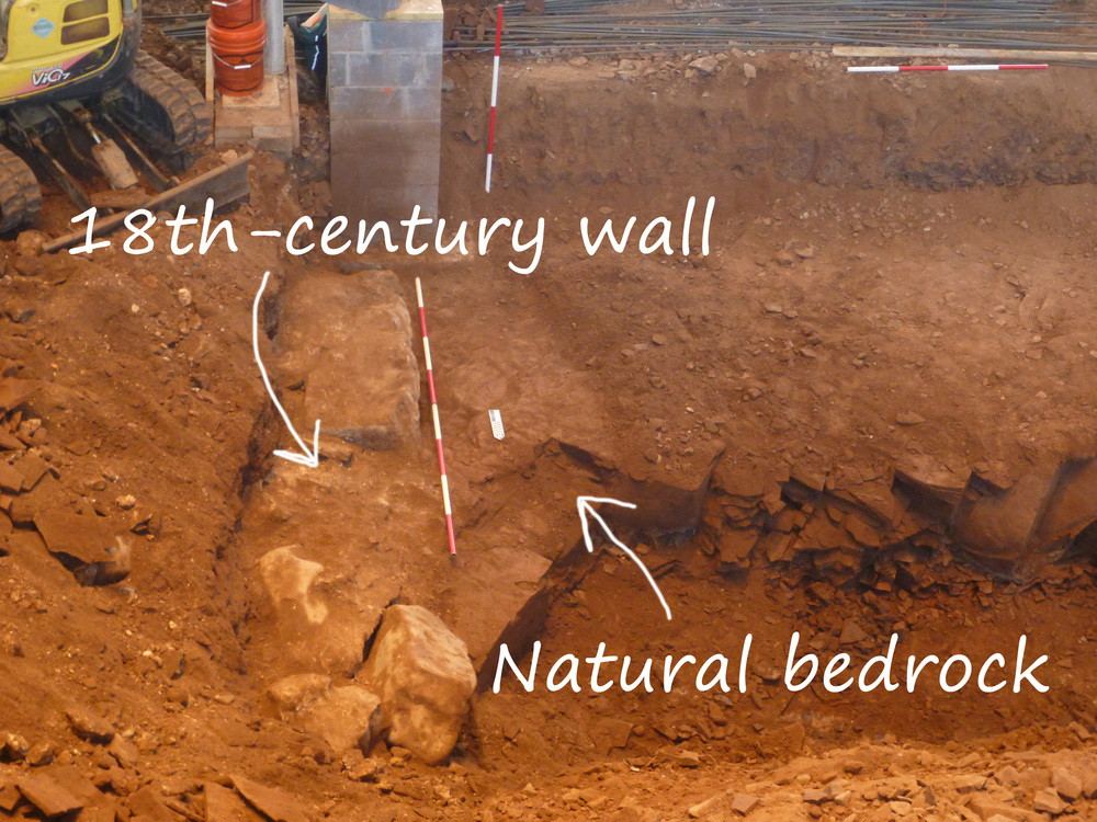 Interpreted east wall of the original 1767 church uncovered during excavation.