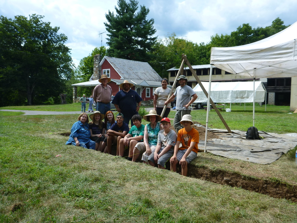 A group of trainee archaeologists, Howell Living History Farm staff and Hunter Research archaeologists at the end of the first week of the archaeology camp.