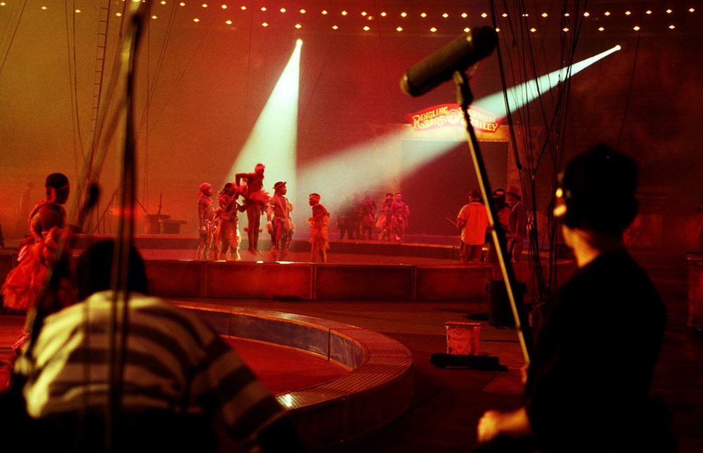 Performers for the Ringling Bros Barnum & Bailey Circus performing during a television taping.