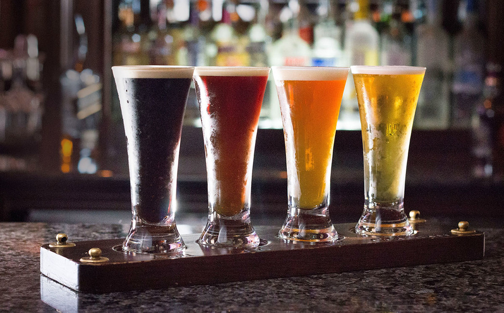 Craft beer flight. Photo by Tom Burton