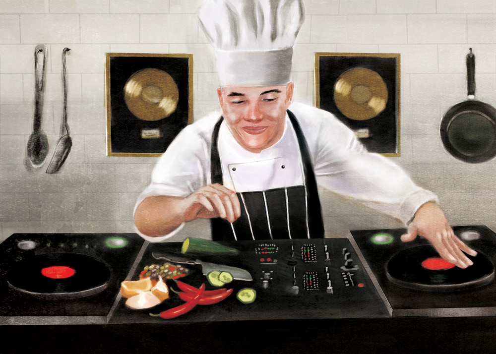 "Music in Restaurants editorial,7"" X 5"", digital"